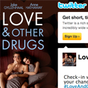 """""""Love and Other Drugs"""" official film Twitter page design"""